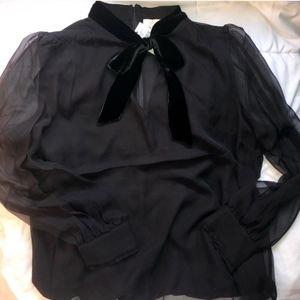 Kate Spade - black mixed velvet chiffon blouse